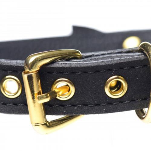 Golden Kitty Collar Met Kattenbelletje - Zwart/Goud #3