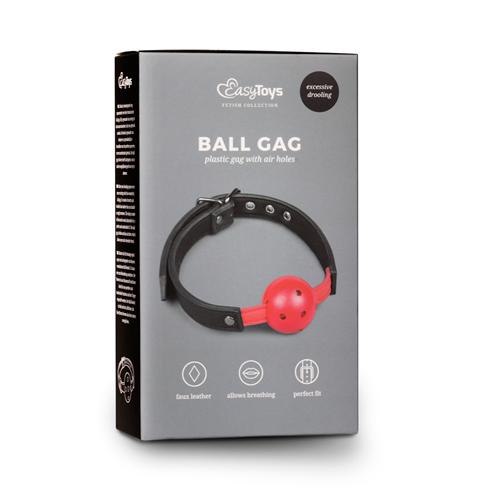 Ball gag met bal van PVC - rood #3
